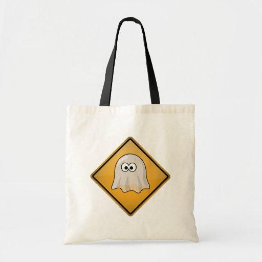 Señal de peligro del fantasma del dibujo animado bolsa tela barata