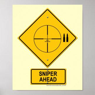 Señal de peligro del francotirador a continuación  póster