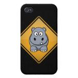 Señal de peligro del hipopótamo del dibujo animado iPhone 4/4S funda