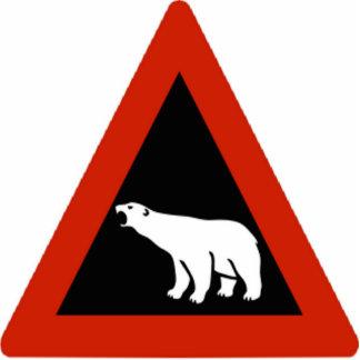 Señal de peligro del oso polar adorno fotoescultura