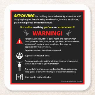 Señal de peligro del parque temático de SKYDIVING Posavasos De Cartón Cuadrado