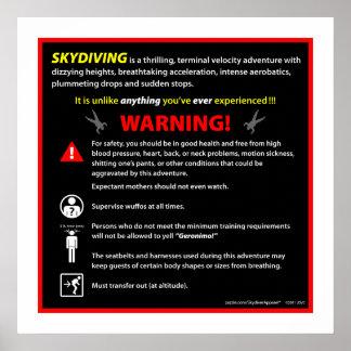 Señal de peligro del parque temático de SKYDIVING Póster