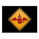 Señal de peligro del Pterodactyl del dibujo animad Postal