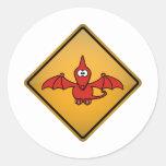 Señal de peligro del Pterodactyl del dibujo Pegatinas Redondas