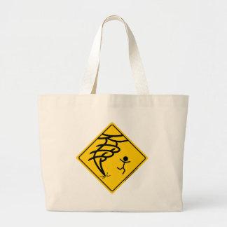 Señal de peligro del tornado bolsa tela grande
