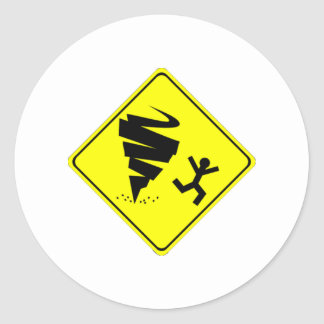 Señal de peligro del tornado pegatina redonda