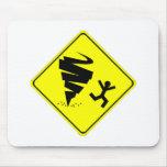 Señal de peligro del tornado tapete de raton