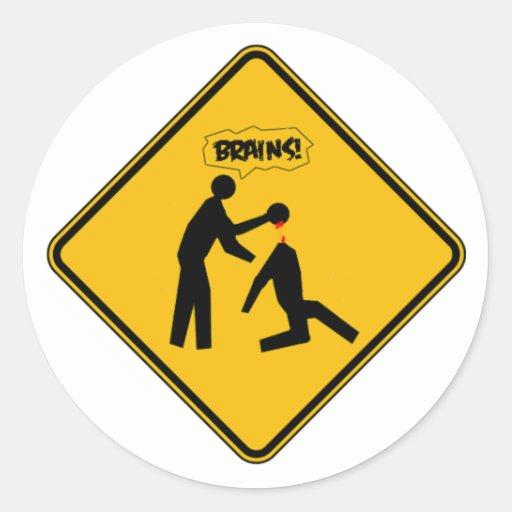 Señal de peligro del zombi pegatina redonda