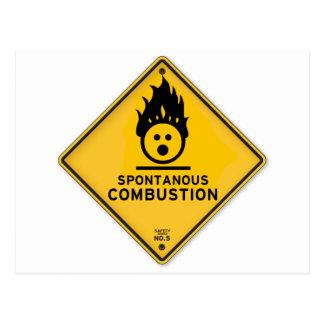 Señal de peligro divertida de la combustión tarjetas postales