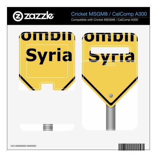 Señal de peligro que bombardea Siria Cricket MSGM8 Calcomanía