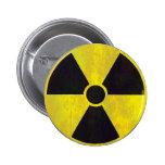 Señal de peligro radiactiva - botón pin redondo de 2 pulgadas