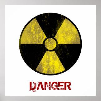 Señal de peligro radiactiva del Grunge - poster