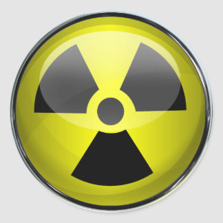Señal de peligro radiactiva del símbolo de la pegatina redonda