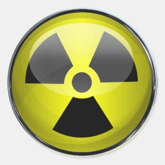 Señal de peligro radiactiva del símbolo de la radi pegatina redonda