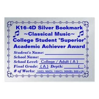 Señal de plata Music~ ~Classical 100ct de K16-4D Plantillas De Tarjeta De Negocio