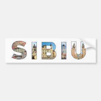señal de Rumania de la ciudad de Sibiu dentro del Pegatina Para Auto