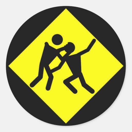 Señal de tráfico amonestadora del zombi pegatina redonda