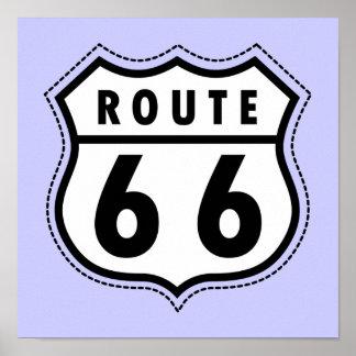 Señal de tráfico azul de la ruta 66 de la lavanda poster