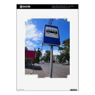 Señal de tráfico con una imagen de una parada de iPad 3 pegatina skin