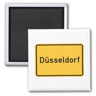 Señal de tráfico de Düsseldorf, Alemania Imán Cuadrado