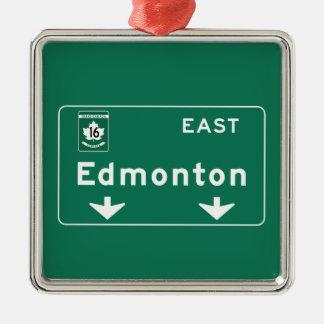 Señal de tráfico de Edmonton, Canadá Adorno Cuadrado Plateado