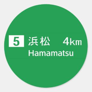 Señal de tráfico de Hamamatsu, Japón Pegatina Redonda
