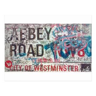 Señal de tráfico de la abadía tarjeta postal