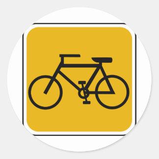 Señal de tráfico de la bici del vintage pegatinas redondas