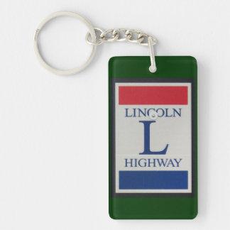 Señal de tráfico de la carretera de Lincoln Llavero Rectangular Acrílico A Doble Cara