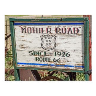 Señal de tráfico de la madre - ruta 66 tarjeta postal