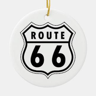 Señal de tráfico de la ruta 66 adorno navideño redondo de cerámica