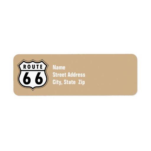 Señal de tráfico de la ruta 66 de Brown del moreno Etiqueta De Remite