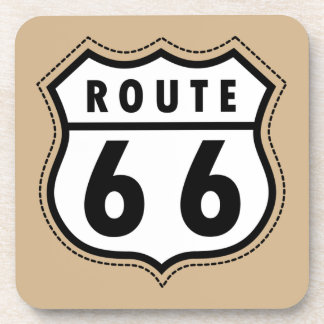 Señal de tráfico de la ruta 66 de Brown del moreno Posavasos