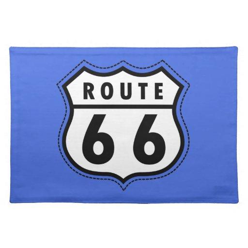 Señal de tráfico de la ruta 66 del azul real mantel individual