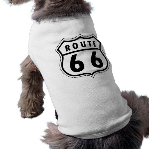 Señal de tráfico de la ruta 66 playera sin mangas para perro