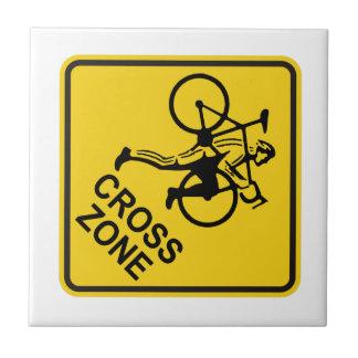 Señal de tráfico de la zona de Cyclocross Azulejo Cuadrado Pequeño