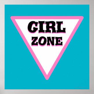 Señal de tráfico de la zona del chica póster