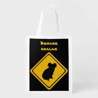 señal de tráfico de las koalas bolsas reutilizables