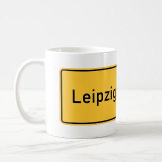 Señal de tráfico de Leipzig, Alemania Taza De Café