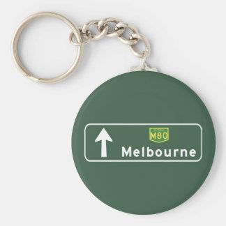 Señal de tráfico de Melbourne, Australia Llavero Redondo Tipo Pin