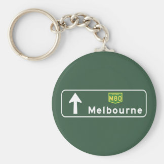 Señal de tráfico de Melbourne, Australia Llavero Redondo Tipo Chapa