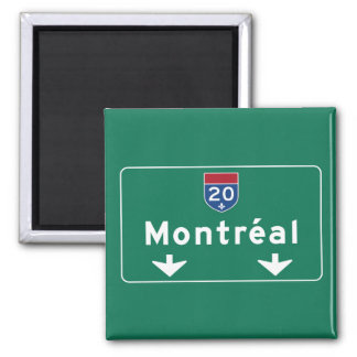 Señal de tráfico de Montreal, Canadá Imán Cuadrado