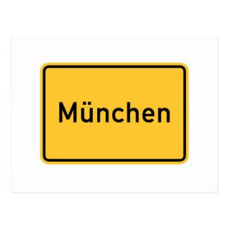 Señal de tráfico de Munich, Alemania Tarjeta Postal