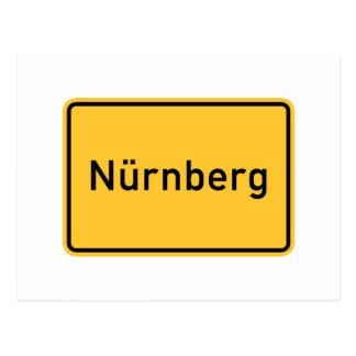 Señal de tráfico de Nuremberg, Alemania Postal