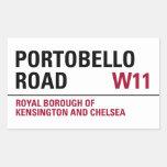 Señal de tráfico de Portobello (paquete de 4) Pegatina Rectangular