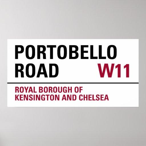 Señal de tráfico de Portobello Póster