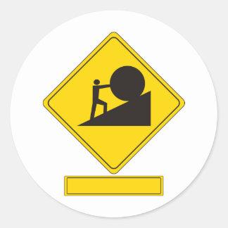 Señal de tráfico de Sisyphus Pegatina Redonda