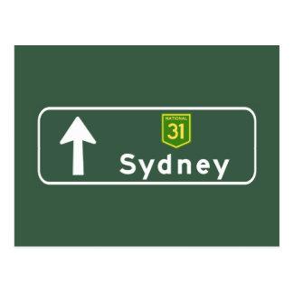Señal de tráfico de Sydney, Australia Tarjeta Postal