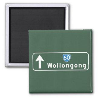 Señal de tráfico de Wollongong, Australia Imán Cuadrado