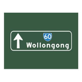 Señal de tráfico de Wollongong, Australia Tarjeta Postal